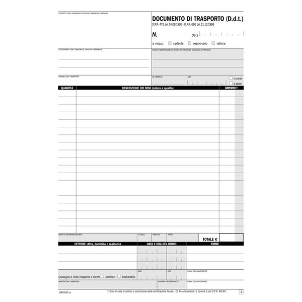 Blocco documenti di trasporto Semper Multiservice - carta chimica 3 parti - 33x3 ff - SE1687CD330