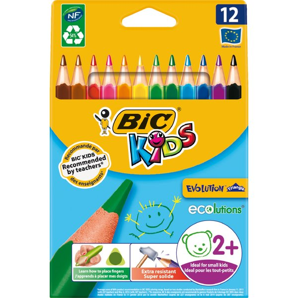 Matite colorate Bic Kids Evolution Triangle - 10,2 mm - da 2 anni - 8297356 (conf.12)