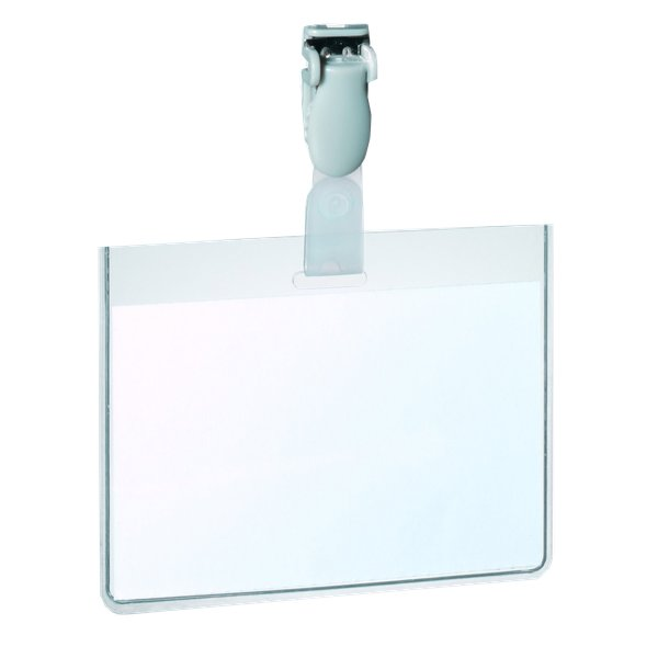 Portabadge in PVC con clip in plastica Durable - 6x9 cm - sigillabile con clip - 8143-19 (conf.25)
